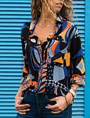 hesapli Gömlek-Kadın's V Yaka Gömlek Desen, Geometrik Sokak Şıklığı Havuz