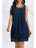 billige Kjoler med tryk-Dame Plusstørrelser I-byen-tøj Chiffon Kjole - Ensfarvet Mini
