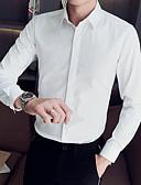 hesapli Gömlekler-Erkek Gömlek Solid Temel Siyah