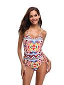 hesapli Bikiniler ve Mayolar-Kadın's Sportif Temel Doğal Pembe Boyundan Bağlamalı Yarım Tanga Tek Parçalılar Mayolar - Geometrik Arkasız Bağcık Desen S M L Doğal Pembe
