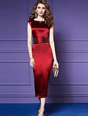 hesapli Print Dresses-Kadın's Temel Kılıf Elbise - Solid Midi