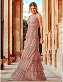 hesapli Gelin Annesi Elbiseleri-A-Şekilli Boyun eğme çizgisi Yere Kadar Saten / Tül Dalgalı ile Resmi Akşam Elbise tarafından LAN TING Express