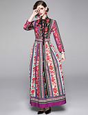 abordables Chemises Femme-Femme Elégant Maxi Trapèze Robe - Imprimé, Fleur Rouge M L XL Manches Longues
