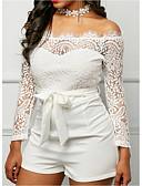 hesapli Tişört-Kadın's Beyaz Tulum, Solid XS S M