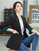hesapli Kadın Kazakları-Kadın's Blazer Çentik Yaka Polyester Siyah / Bej S / M / L