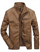 hesapli Erkek Ceketleri ve Kabanları-Erkek Günlük Temel İlkbahar & Kış Normal Ceketler, Solid Dik Yaka Uzun Kollu Polyester Siyah / Ordu Yeşili / Haki