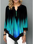 billige Skjorter til damer-Bluse Dame - Fargeblokk Grunnleggende Blå