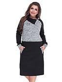 hesapli Kadın Elbiseleri-Kadın's Temel Zarif Kombinezon Kılıf Elbise - Zıt Renkli, Kırk Yama Midi Siyah & Kırmızı Siyah gri