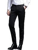 hesapli Erkek Pantolonları ve Şortları-Erkek Temel / Sokak Şıklığı İnce Takım Elbise / Chinos Pantolon - Solid Desen Havuz Siyah US42 / UK42 / EU50 US44 / UK44 / EU52 US46 / UK46 / EU54