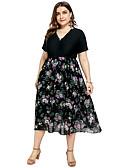 זול שמלות במידות גדולות-מידי דפוס, גיאומטרי - שמלה שיפון בסיסי בגדי ריקוד נשים
