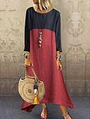 hesapli Büyük Beden Elbiseleri-Kadın's Çan Elbise - Zıt Renkli Maksi