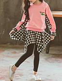 hesapli Kız Çocuk Kıyafet Setleri-Çocuklar Toddler Genç Kız Temel Sokak Şıklığı Günlük / Sade Atletik Desen Ekose Çoklu Katman Nakış Uzun Kollu Kısa Kısa Kıyafet Seti Doğal Pembe