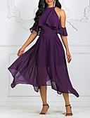 abordables Robes Femme-Femme Asymétrique Balançoire Robe Couleur Pleine Licou Vin Violet S M L Manches Courtes