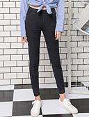 hesapli Tişört-Kadın's Pamuklu Podstawowy Legging - Solid, Desen Orta Bel Havuz Siyah XL XXL XXXL