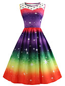hesapli Print Dresses-Kadın's Vintage A Şekilli Elbise - Kar Tanesi, Örümcek Ağı Kırk Yama Desen Diz-boyu