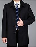 povoljno Muške jakne i kaputi-Muškarci Dnevno Veličina EU / SAD Normalne dužine Kaput, Jednobojni Odbačenost Dugih rukava Poliester Sive boje / Bijela / Svjetlosmeđ