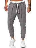 cheap Men's Pants & Shorts-Men's Basic EU / US Size Jogger / Chinos Pants - Plaid / Checkered Gray US32 / UK32 / EU40 US34 / UK34 / EU42 US36 / UK36 / EU44