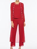 hesapli Gelin Annesi Elbiseleri-Pantsuit Taşlı Yaka Bilek Boyu Şifon Boncuklama ile Gelin Annesi Elbisesi tarafından LAN TING Express / Şal dahildir