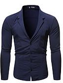 hesapli Erkek Gömlekleri-Erkek Gömlek Solid Sokak Şıklığı / Zarif Siyah