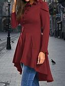 hesapli Kadın Kabanları ve Trençkotları-Kadın's Günlük Temel Normal Ceketler, Solid Kapşonlu Uzun Kollu Polyester Şarap