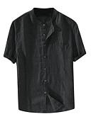 hesapli Erkek Gömlekleri-Erkek Gömlek Kırk Yama, Solid Temel Siyah