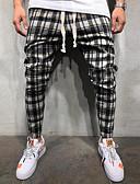 cheap Men's Pants & Shorts-Men's Basic EU / US Size Chinos Pants - Plaid / Checkered Black Red Yellow US36 / UK36 / EU44 US38 / UK38 / EU46 US42 / UK42 / EU50 / Drawstring