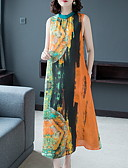 hesapli Print Dresses-Kadın's Kombinezon Elbise - Zıt Renkli Midi