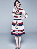 abordables Chemises Femme-Femme Elégant Mi-long Trapèze Robe - Imprimé, Fleur Blanche M L XL Manches Longues