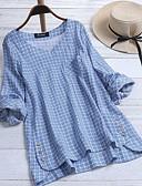 hesapli Gömlek-Kadın's Gömlek Pötikare Temel Açık Mavi