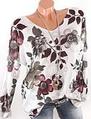 hesapli Tişört-Kadın's V Yaka Tişört Çiçekli Beyaz
