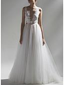 povoljno Vjenčanice-A-kroj V izrez Jako kratki šlep Čipka / Til Izrađene su mjere za vjenčanja s Mašna / Sashes / Ribbons po LAN TING Express