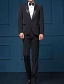 cheap Men's Blazers & Suits-Men's Suits, Solid Colored Notch Lapel Polyester White / Black