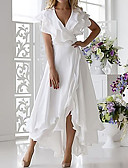hesapli Vintage Kraliçesi-Kadın's Seksi A Şekilli Elbise - Solid V Yaka Midi
