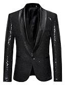 hesapli Erkek Blazerları ve Takım Elbiseleri-Erkek Blazer Şal Yaka Pamuklu Siyah / Altın / Gümüş US32 / UK32 / EU40 / US34 / UK34 / EU42 / US38 / UK38 / EU46