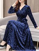 זול שמלות מקרית-מקסי שרוכים לכל האורך, משובץ - שמלה סווינג בוהו אלגנטית בגדי ריקוד נשים