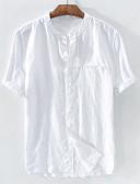 hesapli Erkek Gömlekleri-Erkek Keten Dik Yaka Gömlek Kırk Yama, Solid Temel AB / ABD Beden Beyaz