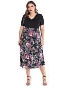 hesapli Print Dresses-Kadın's Temel A Şekilli Elbise - Çiçekli, Kırk Yama Desen Midi