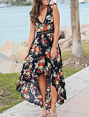 hesapli Kadın Elbiseleri-Kadın's Sokak Şıklığı A Şekilli Elbise - Çiçekli, Dantel Kırk Yama Asimetrik