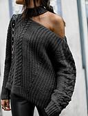 povoljno Ženski džemperi-Žene Jednobojni Dugih rukava Pullover, Na vezanje oko vrata Crn / Obala / Red M / L / XL