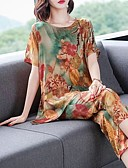 hesapli İki Parça Kadın Takımları-Kadın's Vintage / Çin Stili Set - Desen, Çiçekli / Geometrik / Gökküşağı Pantolon