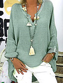 hesapli Gömlek-Kadın's V Yaka Gömlek Solid Temel Büyük Bedenler Siyah