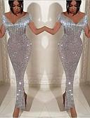 זול שמלות ערב-מעטפת \ עמוד צווארון V / סירה מתחת לכתפיים באורך הקרסול נצנצים ערב רישמי שמלה עם נצנצים / פרנזים על ידי LAN TING Express