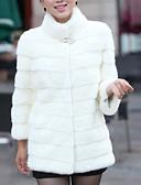 abordables Manteaux Fourrure et Synthétique Femme-Femme Quotidien Basique Grandes Tailles Normal Manteau de fausse fourrure, Couleur Pleine Mao Manches Longues Fausse Fourrure Noir / Blanche