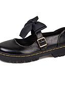 povoljno One-piece swimsuits-Žene Oksfordice Ravna potpetica Okrugli Toe Mašnica PU minimalizam Jesen Crn / Tamno smeđa