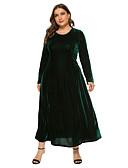 זול שמלות במידות גדולות-מקסי אחיד - שמלה גזרת A בגדי ריקוד נשים