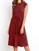 hesapli Mini Elbiseler-Kadın's Temel Çan Elbise - Solid Midi