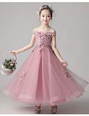 זול שמלות לילדות פרחים-נשף באורך הקרסול שמלה לנערת הפרחים  - תחרה / טול ללא שרוולים סירה מתחת לכתפיים עם חרוזים / אפליקציות / תחרה על ידי LAN TING Express