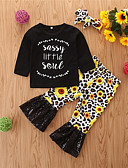 povoljno Vanjska odjeća za bebe-Dijete Djevojčice Ležerne prilike / Osnovni Print Print Dugih rukava Regularna Normalne dužine Komplet odjeće Crn