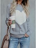 povoljno Ženski džemperi-Žene Dnevno Osnovni Geometrijski oblici / Srce Dugih rukava Slim Regularna Pullover Bež / Navy Plava / Sive boje L / XL / XXL