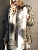povoljno Ženske kaputi od kože i umjetne kože-Žene Dnevno Normalne dužine Faux Fur Coat, Jednobojni Rolled collar Dugih rukava Umjetno krzno Sive boje